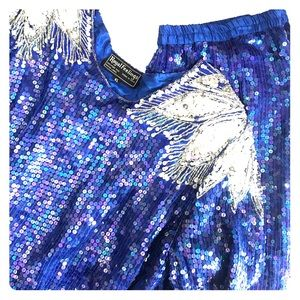 VINTAGE Silk Bling Party Suit Top & Skirt